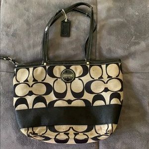 Black and Grey Coach Tote Bag